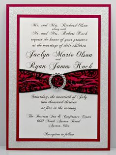 Stunning Red Black & Silver Wedding Invitation by InviteBling. Love the middle pattern Black Silver Wedding, Red Wedding, Wedding Colors, Wedding Things, Wedding Stuff, Silver Wedding Invitations, Engagement Invitations, Wedding Stationery, Red And Black Table Decorations