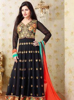 Buy Bollywood Designer Georgette Anarkali Salwar Suit In Black $47.61 . Shop at - bollywood-ankle-length-anarkali.blogspot.co.uk/2014/08/buy-bollywood-designer-georgette.html