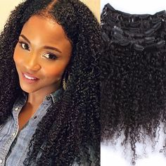 67.45$  Buy here - http://aliihy.worldwells.pw/go.php?t=32628582561 - 3B 3C Kinky Curly Clip In Human Hair Extensions 7pc Brazilian African American Clip In Human Hair Extensions Clip Ins 12''-26'' 67.45$