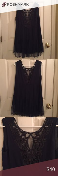 Navy dress with lace Navy dress with detailed lace and beading. Zara Dresses