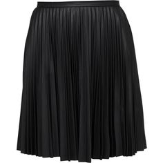 Leather-look pleated skirt ($87) ❤ liked on Polyvore featuring skirts, faux leather pleated skirt, imitation leather skirt, fake leather skirt, army green skirt and pleated skirt