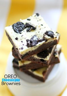 These Oreo Cheesecake Brownies are a chocolate lover's dream! Fudgy homemade brownies are topped with creamy cheesecake and full of cookie pieces.