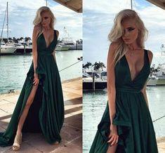 Image result for dark green open back ball dress