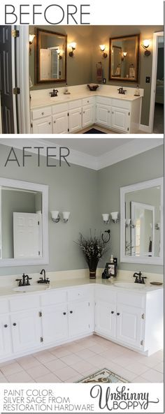 Master Bathroom Makeover before & after. Paint color: Silver Sage by Restoration Hardware