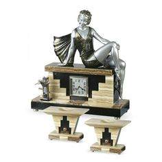Art Deco Painted Spelter, Marble, and Onyx Figural Clock Garniature (c.1930) by Belleste