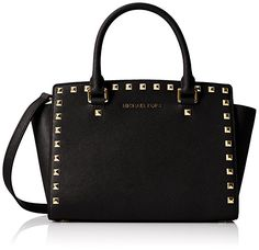 ac67e596bf14 MICHAEL Michael Kors Women's Selma Stud Medium Top Zip Satchel, Black, One  Size Michael