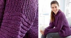 Le pull violet en point fantaisie