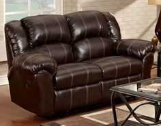 Affordable Furniture Brandon Brown Bonded Leather Reclining Loveseat 1000-SO