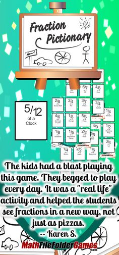 "Fraction Pictionary: Recognizing Fractions with Drawing {Fraction Game} http://www.teacherspayteachers.com/Product/Fraction-Pictionary-Recognizing-Fractions-with-Drawing-Fraction-Game-1075575 ""The kids had a blast playing this game. They begged to play every day. It was a ""real life"" activity and helped the students see fractions in a new way, not just as pizzas."" Karen S."