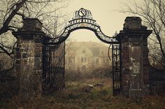 """""""Spooky House by lukaszmalkiewicz """" Abandoned Mansions, Abandoned Buildings, Abandoned Places, Spooky House, Entrance Gates, Dark Places, Old Houses, Creepy, Scenery"""