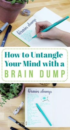 When your mind becomes cluttered and crazy, it's time to clean it out. One easy method to do that is to write out a brain dump! This quick technique for list-lovers is a wonderful way to release some of the pressure in your mind and take a deep breath to Bujo, Journal Layout, Journal Prompts, Journal Ideas, Planners, Lettering, Bullet Journal Inspiration, Motivation, Self Improvement