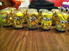 Candy minion jars for good bags! I cleaned the labels off of baby food jars, then filled with a variety of yellow candies! I used black paint to trace the mouth and eye bands, a silver sharpie for the goggles and glued wiggle eyes on! I painted the lids with royal blue nail polish to make them look like the overalls. Party city has these candies 15/$1! I was able to fill 12, 5oz jars for only $6!
