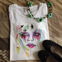 HPHand drawn abstract top ✔️Tank  tops or v necks  [100% cotton]                                                                     ✔️Hand drawnFirm price Tops