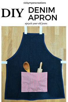 Old tired jeans? Learn how to sew them up into an apron, this makes a great gift for any budding child - what child doesn't love to help cook? Upcycle your denim Sew Your Own Clothes, Sewing Clothes, Apron Tutorial, Car Boot Sale, Headband Tutorial, Upcycled Crafts, Diy Crafts, Old Jeans, Denim Jeans