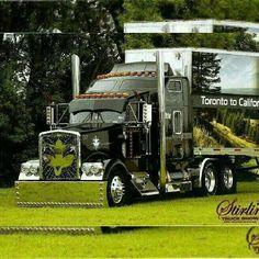 Show Trucks, Big Rig Trucks, Custom Big Rigs, Custom Trucks, Black Truck, Custom Trailers, Truck Paint, Train Truck, Peterbilt Trucks