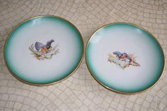 Vintage 1953 Thomas Germany Pheasant Decorator Plates Gold Trim