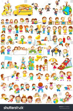 stock-vector-vector-illustration-of-children-doing-different-fun-activities-liking-painting-studying-sports-and-417769852.jpg (1059×1600)