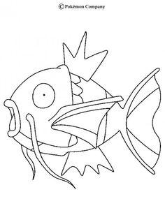 Magikarp Pokemon coloring page. More Water Pokemon coloring sheets on hellokids.com