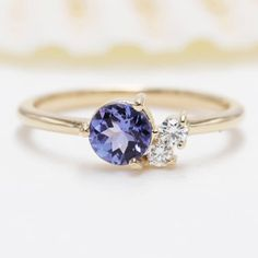 Gold High Quality CT Blue Tanzanite Daimond Engagment Ring/Blue Gem Engagement ring/Birthday Diamond Ring/Anniversary Tanzanite ring by Masterjewelryshop on Etsy Non Diamond Engagement Rings, Diamond Anniversary Rings, Vintage Engagement Rings, Diamond Wedding Bands, Wedding Rings, Blue Rings, Yellow Gold Rings, Tanzanite Rings, Etsy Jewelry