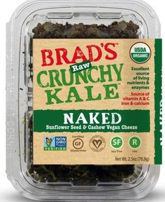 Brad's Raw Crunchy Kale: Naked from Brad's Raw Foods ($5.99) I chose this item because it is USDA Organic Certified. Non-GMO Project Verified, gluten free, raw, and vegan.  *Retail Outlets within 50 miles of Nashville: Center of Symmetry and The Turnip Truck http://www.bradsrawchips.com/our-products/brads-raw-leafy-kale-naked/