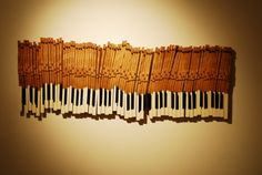 Recycled piano keys. Turn upside down. Make it trees etc