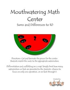 Here's a watermelon-themed math center focused on sums and differences to ten. Watermelon seeds contain number sentences that are sorted to the appropriate number mat.