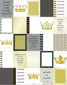 White Black Gold Polka Dots Crowns Friendship Erin Condren (Vertical) Planner Stickers - digital - INSTANT DOWNLOAD by LiveLoveLatte on Etsy