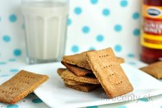 Pohánkové/grahamové sušienky s medom Dairy Free Recipes, Gluten Free, Cornbread, Free Food, Graham, Stevia, Cheesecake, Sweets, Cookies