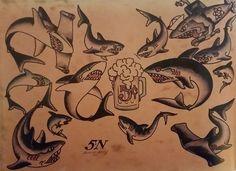 Traditional/old school tattoo sailor jerry sharks beer nautical . Sailor Jerry Flash, Traditional Shark Tattoo, Traditional Tattoo Flash, Hai Tattoos, Funny Tattoos, Arabic Tattoos, Dragon Tattoo Back Piece, Sailor Jerry Tattoos, Old School Tattoo Designs