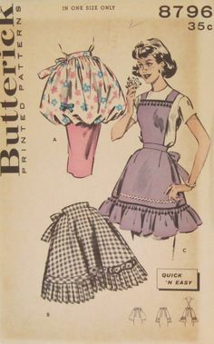 1950's apron patterns | Vtg 1950's Butterick Full Half Pouff Aprons Sewing Pattern 8796 One ...