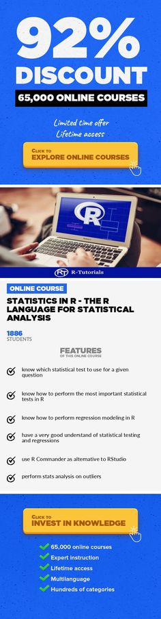 Statistics in R - The R Language for Statistical Analysis Data & Analytics, Business  Statistics made easy with the open source R language. Learn about Regression, Hypothesis tests, R Commander ... Do you want to learn more about statistical programming? Are you in a quantitative field? You want to know how to perform statistical tests and regressions? Do you want to hack the learning curve and st...