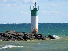 灯台, サイレン ポイント, オンタリオ湖, 海, 波, 風