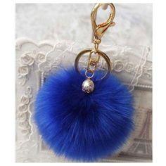 Adorable Bright Blue Furry Pom Pom Keychain, Purse Charm - Cheryl's Galore and More