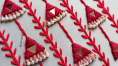 All over hand embroidery design tutorial by Keya's Craze – Handstickerei Embroidery On Kurtis, Kurti Embroidery Design, Hand Embroidery Videos, Embroidery Flowers Pattern, Hand Embroidery Tutorial, Embroidery On Clothes, Hand Work Embroidery, Flower Embroidery Designs, Creative Embroidery