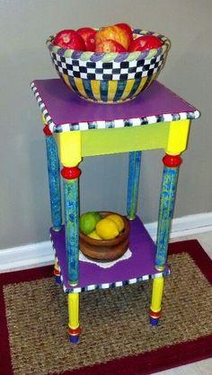 mckenzie childs furniture images | Mackenzie Child inspired Table, Art #funkyfurniture