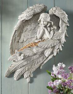 Angel Wings Sculpture Garden Bird Feeder