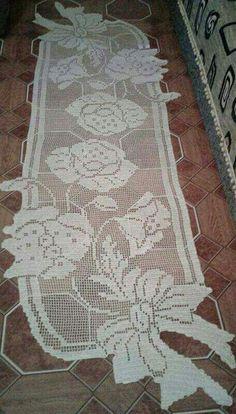 Thread Crochet, Love Crochet, Crochet Lace, Crochet Stitches, Crochet Patterns, Crochet Table Runner, Crochet Tablecloth, Crochet Dollies, Filet Crochet Charts