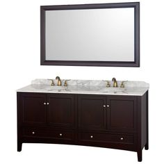 Wyndham Collection Audrey 72 inch Double Bathroom Vanity in Espresso with White Carrera Marble Top with White Porcelain Undermount Sinks Wyndham Collection http://smile.amazon.com/dp/B008DGM6VO/ref=cm_sw_r_pi_dp_Uq.twb121G312