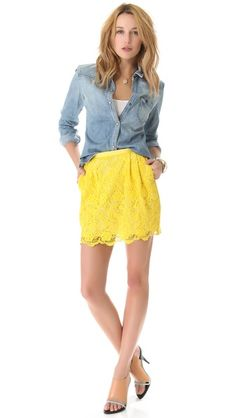 Cute outfit, yellow lace skirt with jean shirt