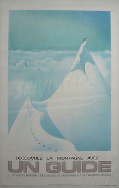 Découvrez la montagne avec un guide - Affiche originale de Samivel (ca 1970)