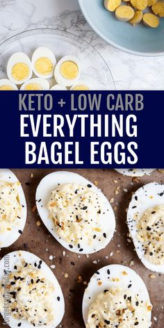 Everything Bagel Deviled Eggs perfect for the holidays! This yummy and EASY deviled eggs recipe is a keto deviled eggs . Everything Bagel Deviled Eggs perfect for the holidays! This yummy and EASY deviled eggs recipe is a keto deviled eggs . Healthy Egg Recipes, Low Carb Recipes, Keto Snacks, Healthy Snacks, Healthy Hair, Healthy Eating, Appetizer Recipes, Snack Recipes, Cucumber Appetizers