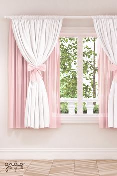Kids Curtain Rods - Personalize Your Child's Room - Life ideas Girls Bedroom Curtains, Pink Curtains, Home Curtains, Kids Bedroom, Living Room Designs, Living Room Decor, Bedroom Decor, Rideaux Design, Black Rooms