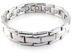 "This is a silver solid stainless steel magnetic bracelet. It has shiny silver edges with a matte silver center, and is quite substantial at about 1/2"" wide. This magnet bracelet has a powerful & permanent 3300 gauss neodymium rare earth north facing magnet in each link.."