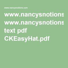www.nancysnotions.com text pdf CKEasyHat.pdf