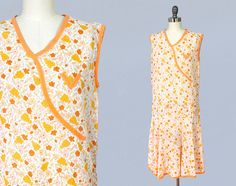 robe des années 1920 / 20 s déco coton robe de jour / Orange