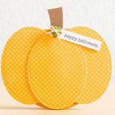Create this pumkin shaped Halloween card with Spellbinders Nestabilities