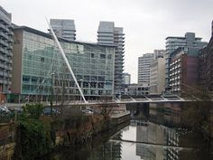 From Castlefield I headed into Manchester city centre. First stop, Trinity Footbridge. This is Santiago Calatrava's only bridge in the UK . Chinese Architecture, Futuristic Architecture, Architecture Office, Cable Stayed Bridge, Salford City, Manchester City Centre, Ecology Design, Two Rivers, Zaha Hadid Architects