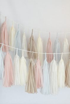 Dusty blush / blushing pink Tassel Garland Banner-  Party Decor, Party, Wedding decor / nursery decor / dusty pink / fully assembled