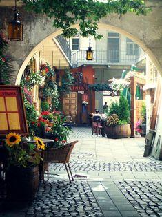 Beautiful courtyard in Krakow, Poland