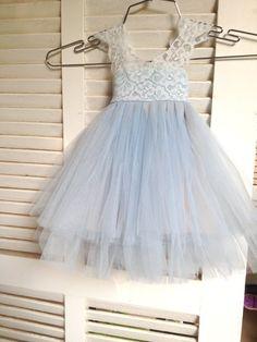 Magic Orchid Light blue Flower Girl Dress by AngelikasBoutique